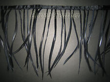 Goose biot feather fringe of black colour 1 metre trim