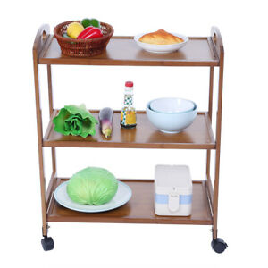 3-Tier Moveable Kitchen Trolley Rolling Storage Rack Organizer With Wheels UK