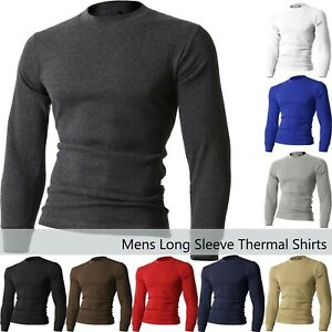 !Solid Terkel Camiseta B/ásica De Manga Larga Longsleeve para Hombre con V-Neck con Bolsillo En El Pecho De 100/% algod/ón