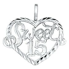 Small Heart Sweet 15 Anos Quinceanera Real 14k White Gold Charm 14mm Pendant