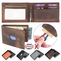 Mens Wallet Bifold Genuine Leather RFID Blocking Slim Wallets with Money Clip US