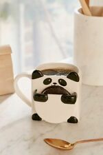 Ceramic Panda Bear Hug Coffee Cup Mug w/ Cookie/ Biscuit Holder Pocket Pouch
