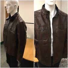 Men Brown Designer real biker slim fit leather jacket Fast Delivery free p&p