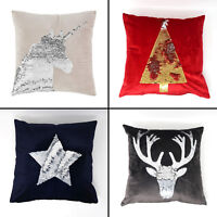 Catherine Lansfield Sequin Cushion Covers - Unicorn, Tree, Star & Stag Multi