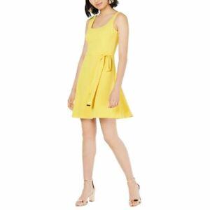 KENSIE NEW Women's Tie-waist Crepe Fit & Flare Dress TEDO