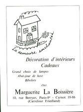 Publicité ancienne décoration d'intérieur M. La Boissière 1959