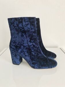 M&S Archive by Alexa Chung The Wade Navy Blue Velvet Boots - Size UK 3