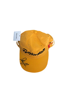 Dustin Johnson autographed signed autograph auto TaylorMade gold golf cap hat