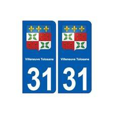 31 Villeneuve-Tolosane blason ville autocollant plaque stickers -  Angles : arro