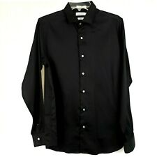 Calvin Klein Men's Dress Shirt Size 20 Long Sleeve French Cuffs Black Classic