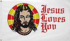 3' x 2' Jesus Loves You Flag Christian Church Religious Banner