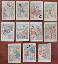 RARE FERDINAND BAC 11 bons points FABLES DE LA FONTAINE ! vers 1890 signés