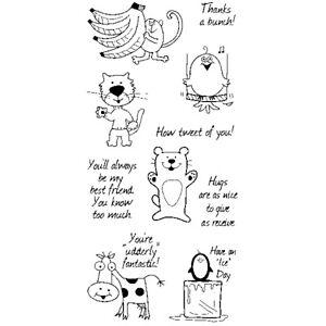 Inkadinkado Friendly Characters Stamps - Funny Cow, Penguin, Bear, Cat, Monkey