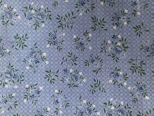 3 1/3 Yards Of Vintage Blue & White Flowers & Lattice Print Cotton Fabric