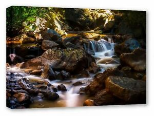 COLORADO STEAM CREEK WATER LANDSCAPE FRAMED CANVAS WALL ART PICTURE PRINT