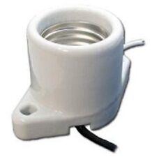 """Surface Mount Medium Base Porcelain Socket Leads 6"""" Holes 2"""" C-C 13477"""