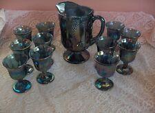 Vintage 12 Pc Indiana Carnival Glass Pitcher Goblets Grapes Harvest Blue NICE