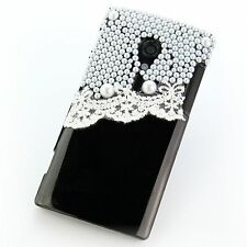 Sony xperia ion lt28i Hard Case Housse de protection scatola cassa perles noir 3d
