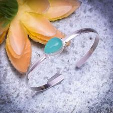 Wonderful Aqua Chalcedony Gemstone 925 Sterling Silver Handmade Bracelet Cuff