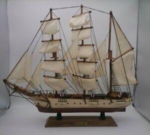 "Vintage Wooden & Cloth Sails Tall Clipper Ship Model 20.00"" x 17.50"" USCGC EAGLE"