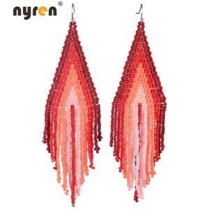 Beads Earrings Bohemian Multi Color Manual Beaded Drop Dangle Earrings 2438