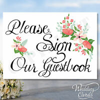 Please Sign Our Guestbook Wedding Sign Party favour card -  flowers ANY COLOUR