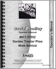 David Bradley 917 57552 Garden Tractor Operators Parts Manual Walk Behind Plow