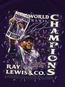 Men's RAY LEWIS Baltimore Ravens Super Bowl XLVII Champs Purple TShirt - Large