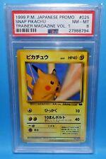 1999 Pokemon Japanese Promo SNAP PIKACHU Trainer Card Magazine Vol-1 PSA-8 NM/MT