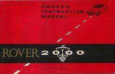 Rover P6 2000 original Owners Instruction Manual (Handbook) 1966 No 4805 EXPORT