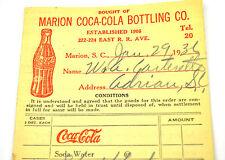 COCA-COLA PILOTO PEDIDO EE.UU. 1930 COKE Order SHEET Marion BOTTLING Co. Roja