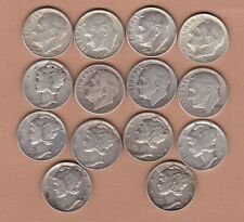 More details for 14 usa silver dimes 1923 to 1964d in fine to extremely fine condition