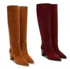 43 44 45 Women Suede Fabric Office Work Pointy Toe Block Heel Mid Calf Boots L