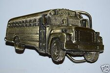 WOW Vintage 1982 School Bus Shaped Driver Brass Tone Belt Buckle Rare