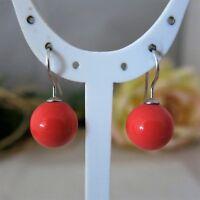 Ohrringe 925er Silber, Lachsfarbe Lachsrosa MuschelkernPerlen 12mm, TOP Geschenk