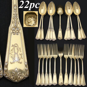 Antique French 18k Vermeil Silver 22pc Dessert Fork & Spoon Set, R.C. Monogram