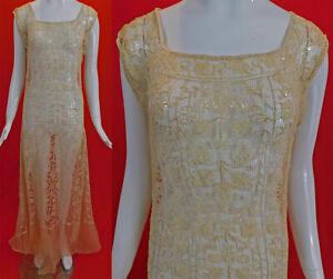Vintage Ecru Cream Italian Buratto Needle Lace Embroidered Woven Net Maxi Dress