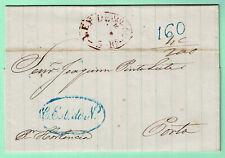 BRAZIL PORTUGAL Stampless LEY de 20/4 50 Cover BAHIA 1851 > PORTO 160 reis