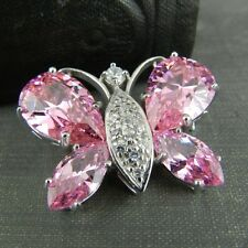 Signed NF Thailand Sterling Silver & Pink Butterfly Pin / Brooch
