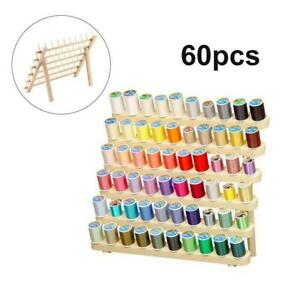 Wood Sewing Thread Stand 60 Spool Home Organizer Embroidery Holder Wall Mounted