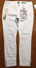 NWT $49.00 Indigo Rein Womens White Ankle Length Ripped Stretchy Jeans Size 15