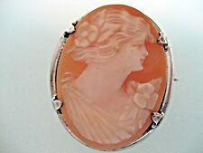 ANTIQUE OSTBY & BARTON STERLING SILVER CAMEO SHELL BROOCH CIRC 1890 - 1900