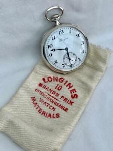 Superb Solid .800 Silver Longines Grand Prix Pocket Watch.