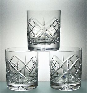 Three Unsigned Heavy Base Lead Crystal Cut Glass Whisky Tumblers -  8 cm