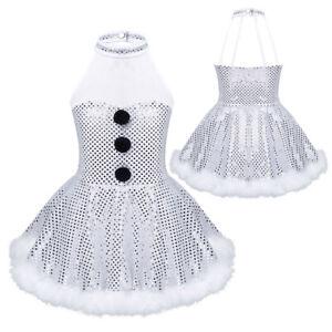 Kid Girl Christmas Snowman Costume Sequin Skating Tutu Dress Ballerina Dancewear