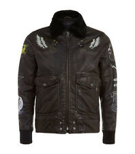 DIESEL L-KAN-PAINT LEATHER JACKET SIZE L 100% AUTHENTIC