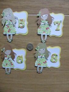 4 cute Little Girls 5 6 7  & 8th cute strawberry handmade Birthday Card Toppers