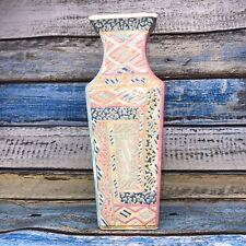 Tall Rectangular Pottery Vase Handpainted for Next