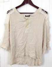GeeGee Women's Size Large Beige Rayon Gold Embellished Lace Shoulder Blouse Top