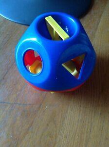 Vintage Tupperware Red Blue Plastic Shape Toy Sorter Ball Blocks Set *Complete*